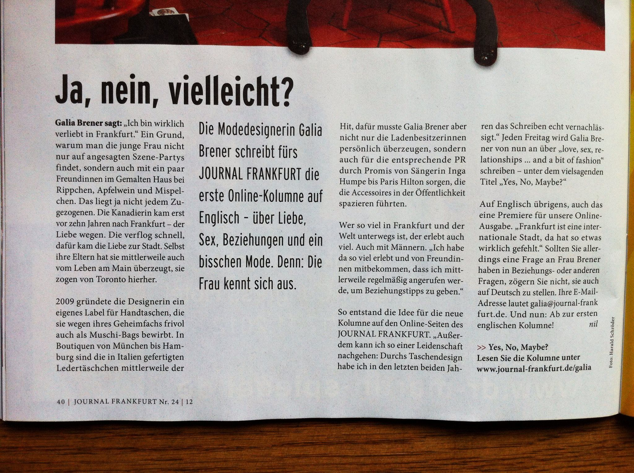Journal_Frankfurt 09.11.2012_Yes, No, Maybe? promo_1