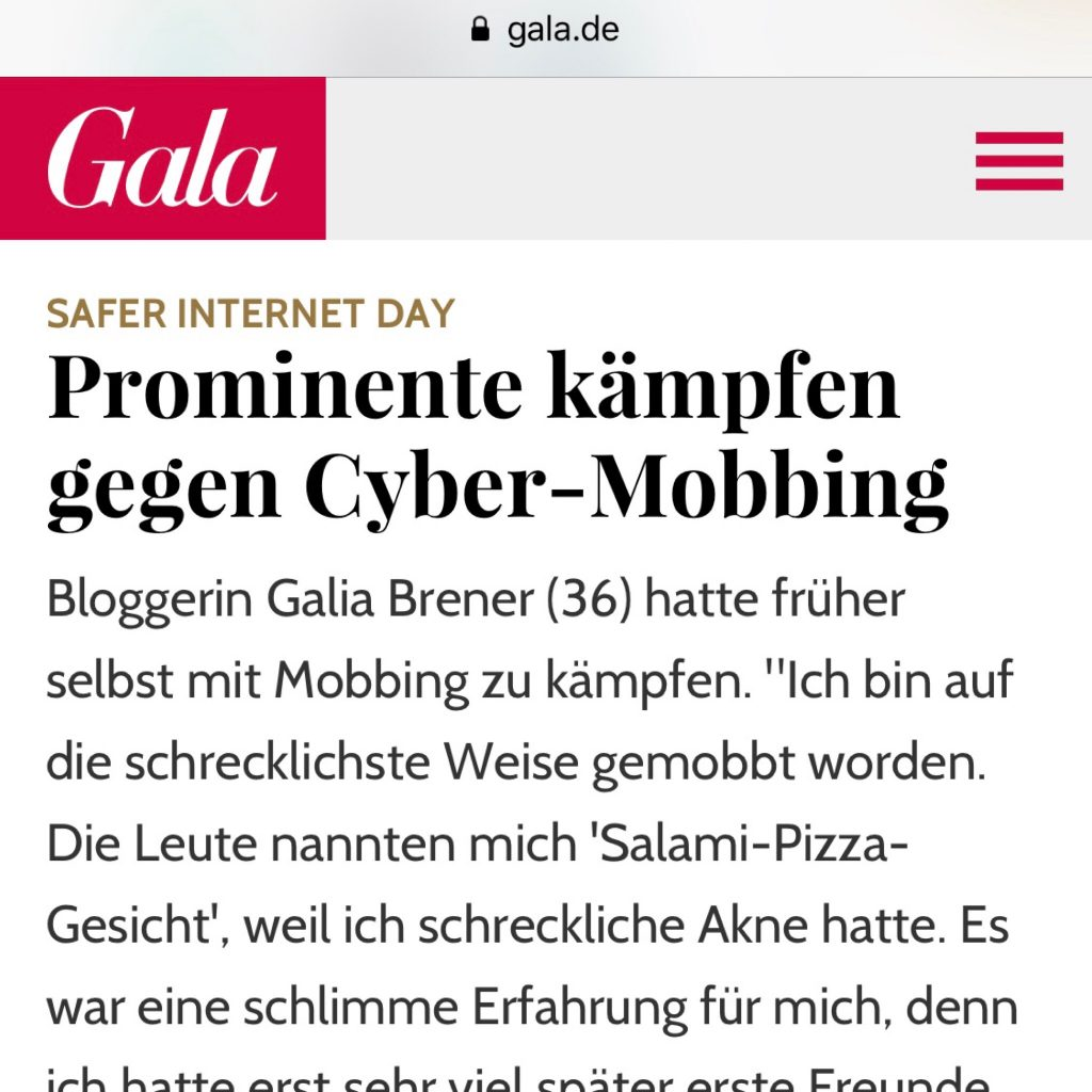 GALA magazine article: Galia Brener interview about