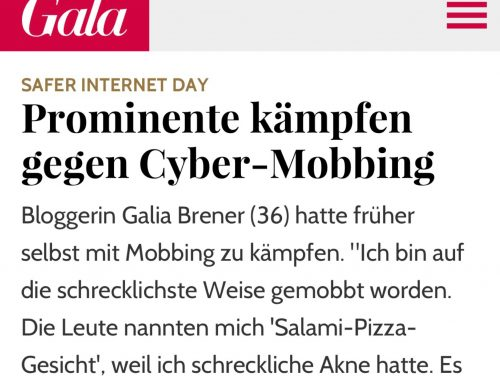 GALA magazine article: Galia Brener interview about cyberbullying